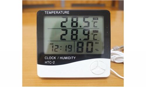 HTC-2 Display 3 Baris Termometer Digital Hygrometer dan Jam